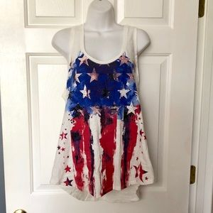 Rock & Republic Distressed Flag Racerback Tank Top